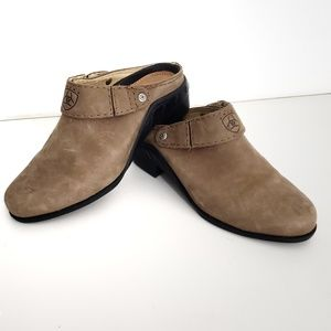 Ariat Camel Leather Mules with Adjustable Strap
